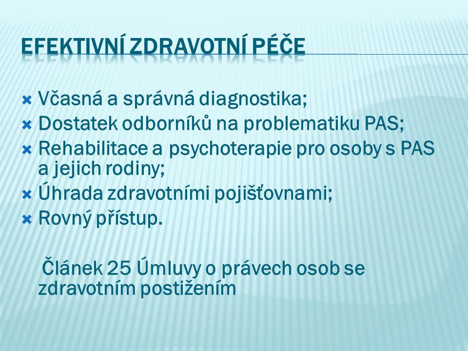  Včasná a správná diagnostika;  Dostatek odborníků na problematiku PAS;  Rehabilitace a psychoterapie pro osoby s PAS a jejich rodiny;  Úhrada zdr