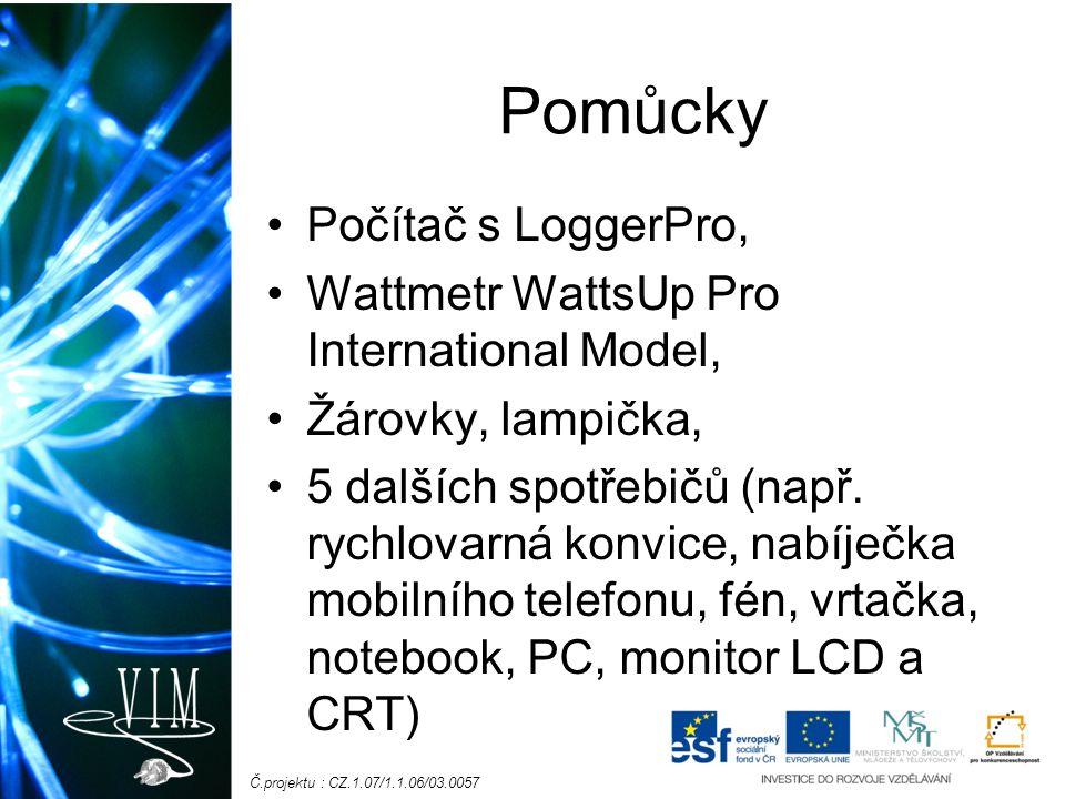 Č.projektu : CZ.1.07/1.1.06/03.0057 Pomůcky Počítač s LoggerPro, Wattmetr WattsUp Pro International Model, Žárovky, lampička, 5 dalších spotřebičů (např.