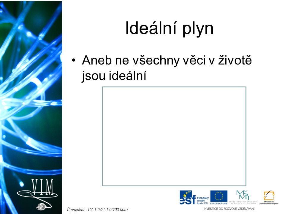 Č.projektu : CZ.1.07/1.1.06/03.0057 Ideální plyn Aneb ne všechny věci v životě jsou ideální