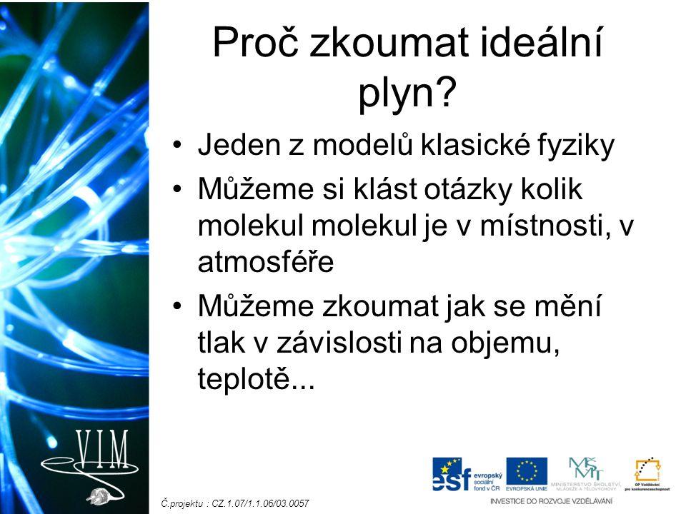Č.projektu : CZ.1.07/1.1.06/03.0057 Cíl laboratorní práce Prozkoumat vlastnosti ideálního plynu