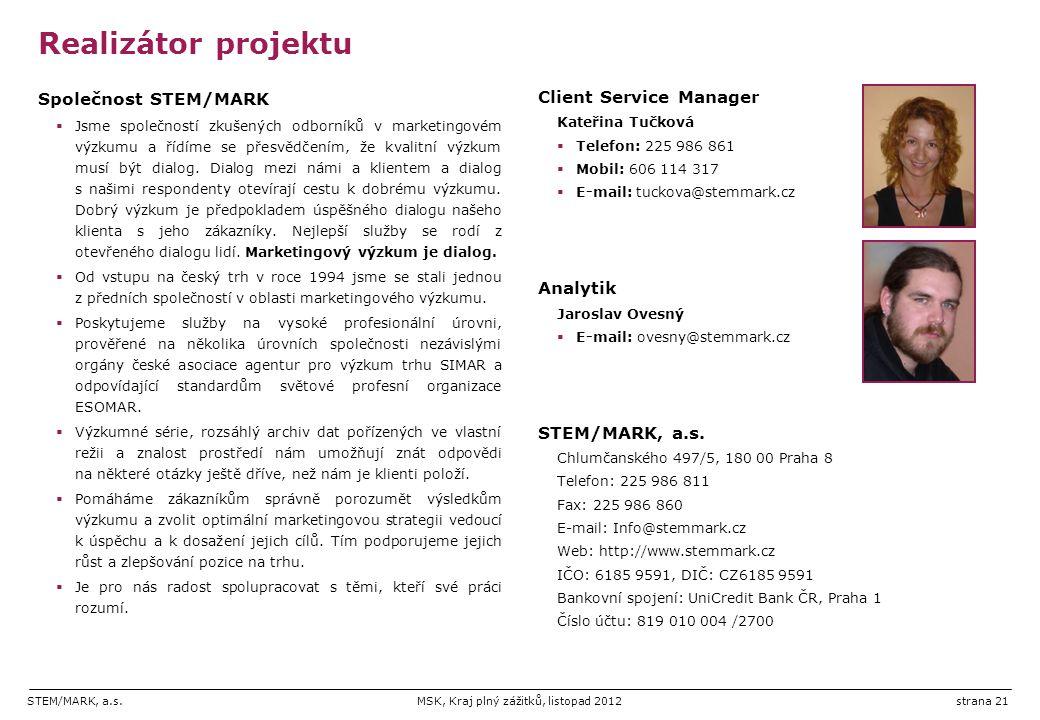 STEM/MARK, a.s.MSK, Kraj plný zážitků, listopad 2012strana 21 Realizátor projektu Společnost STEM/MARK  Jsme společností zkušených odborníků v marketingovém výzkumu a řídíme se přesvědčením, že kvalitní výzkum musí být dialog.
