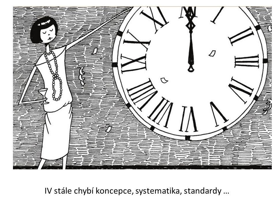 IV stále chybí koncepce, systematika, standardy …