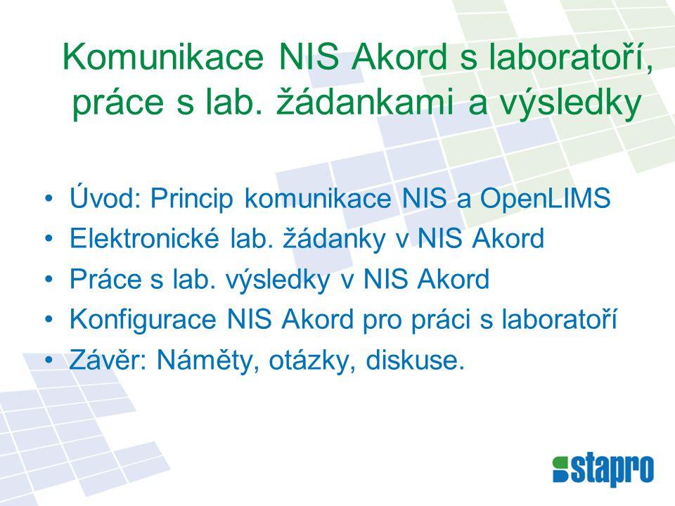 Datové soubory: –formát XML, struktura DASTA verze 3 –vznik, uložení, převzetí a zpracování souboru –logování, kontrola přenosu, řešení chyb Identifikační údaje při přenosu výsledků –příjemce, odesílatel, pacient, metoda Navázání výsledků na dokumentaci pacienta Princip komunikace NIS a OpenLIMS