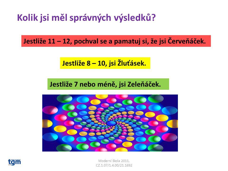 Moderní škola 2011, CZ.1.07/1.4.00/21.1692 Kolik jsi měl správných výsledků.