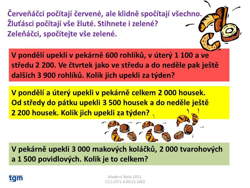 Moderní škola 2011, CZ.1.07/1.4.00/21.1692 Červeňáčci počítají červené, ale klidně spočítají všechno.