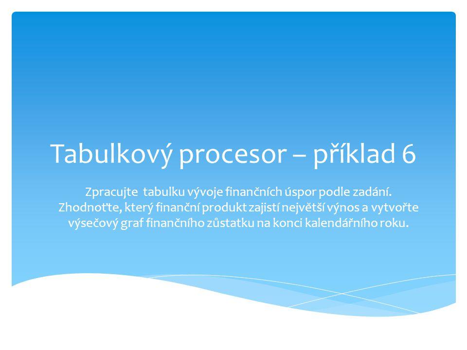 Tabulkový procesor – příklad 6 Zpracujte tabulku vývoje finančních úspor podle zadání.