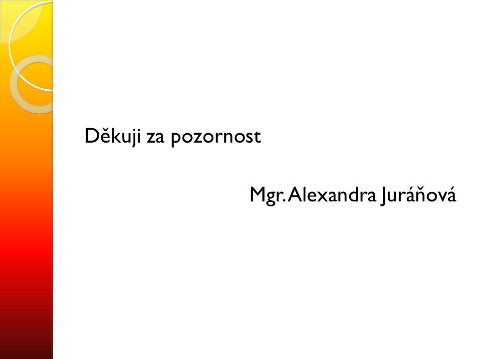 Děkuji za pozornost Mgr. Alexandra Juráňová