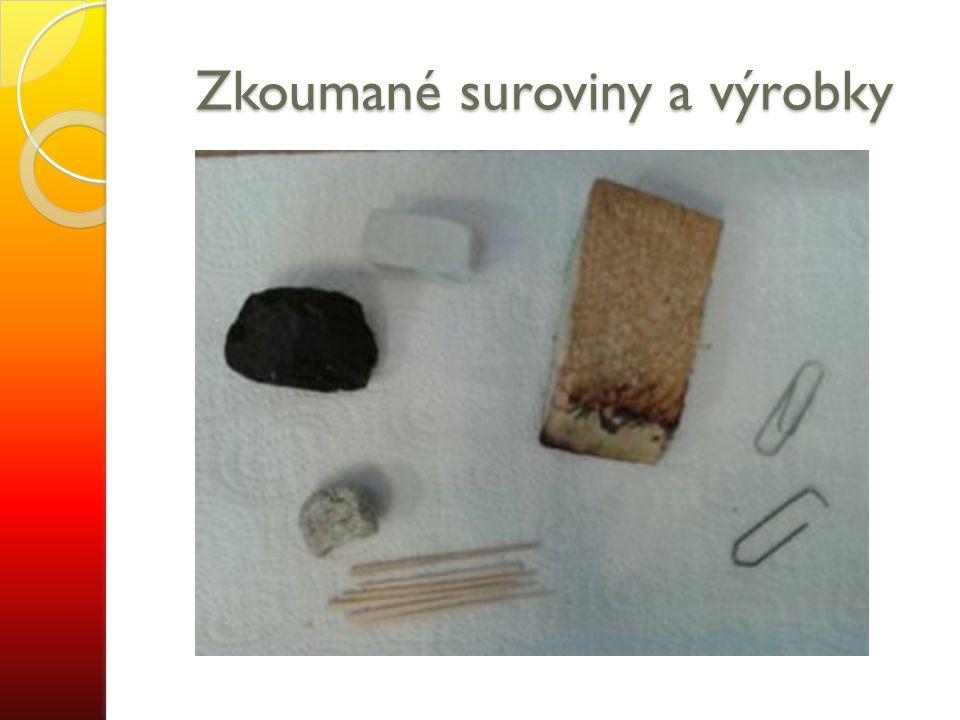 Zkoumané suroviny a výrobky