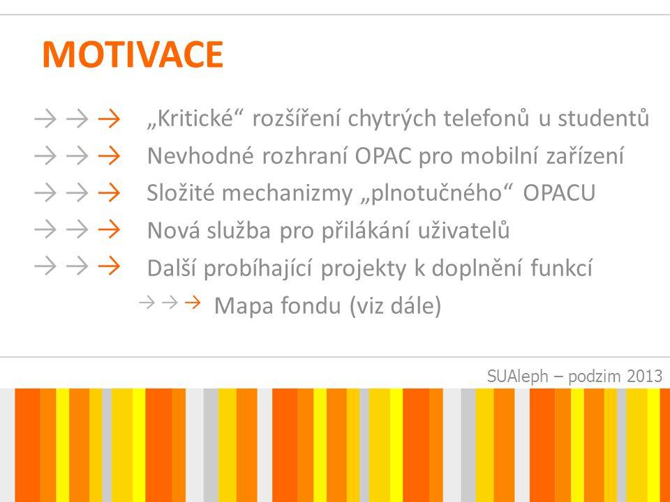 SUAleph – podzim 2013 POŽADAVKY Prioritou JEDNODUCHOST, PŘEHLEDNOST okleštění od zbytečností 4 aktivní obrazovky + 1 pasivní (O Knihovně) úvodní s vyhledáváním výsledky vyhledávání úplný záznam čtenářské konto (aktuální výpůjčky)