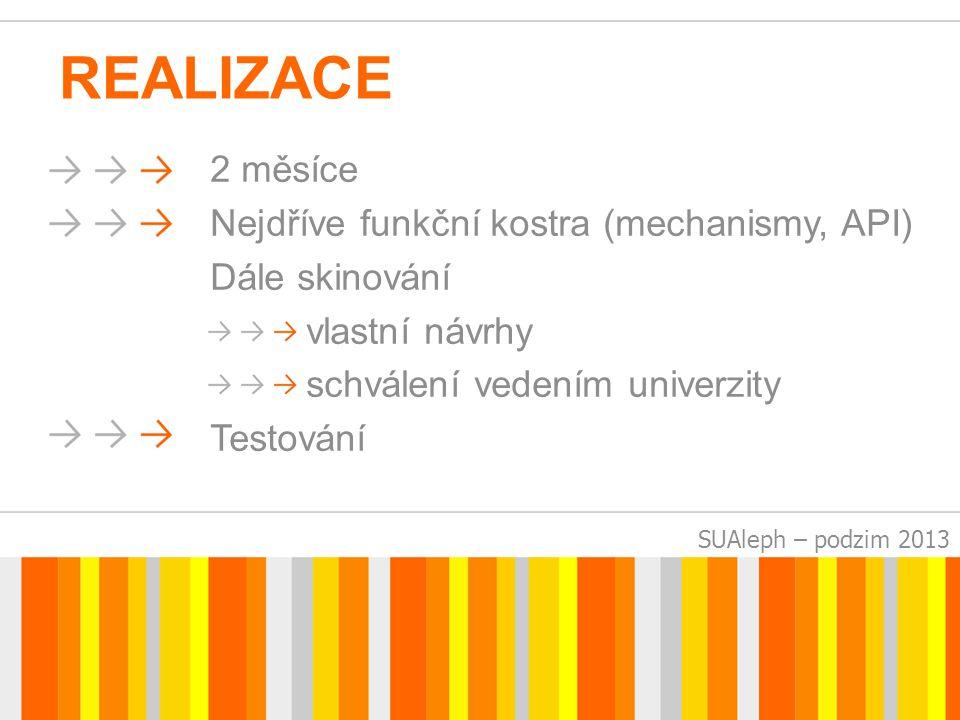 SUAleph – podzim 2013 REALIZACE 2 měsíce Nejdříve funkční kostra (mechanismy, API) Dále skinování vlastní návrhy schválení vedením univerzity Testování