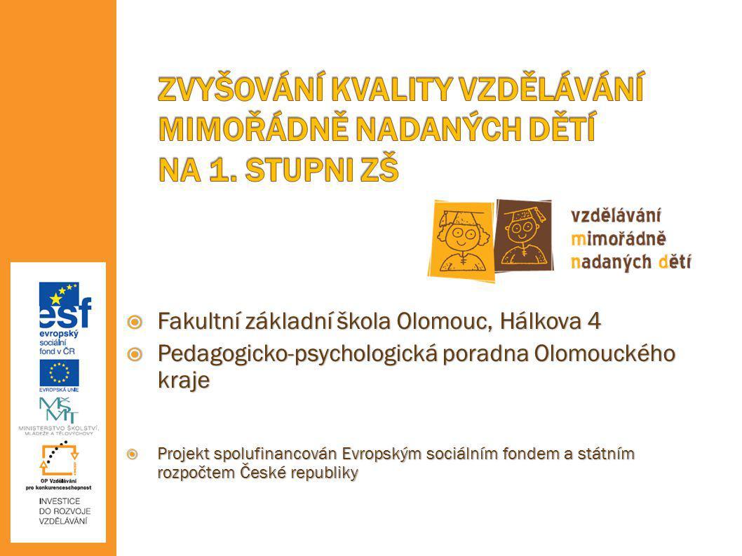  Fakultní základní škola Olomouc, Hálkova 4  Pedagogicko-psychologická poradna Olomouckého kraje  Projekt spolufinancován Evropským sociálním fonde