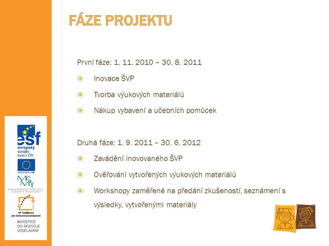První fáze: 1. 11. 2010 – 30. 8. 2011  Inovace ŠVP  Tvorba výukových materiálů  Nákup vybavení a učebních pomůcek Druhá fáze: 1. 9. 2011 – 30. 6. 2
