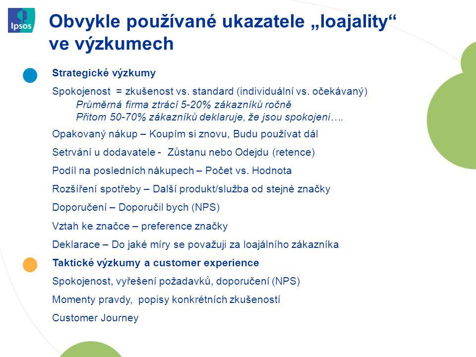 """Obvykle používané ukazatele """"loajality"""" ve výzkumech 10 Strategické výzkumy Spokojenost = zkušenost vs. standard (individuální vs. očekávaný) Průměrná"""