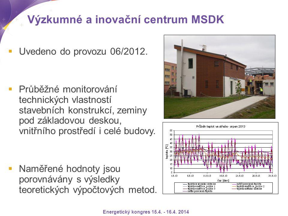 Výzkumné a inovační centrum MSDK  Uvedeno do provozu 06/2012.  Průběžné monitorování technických vlastností stavebních konstrukcí, zeminy pod základ