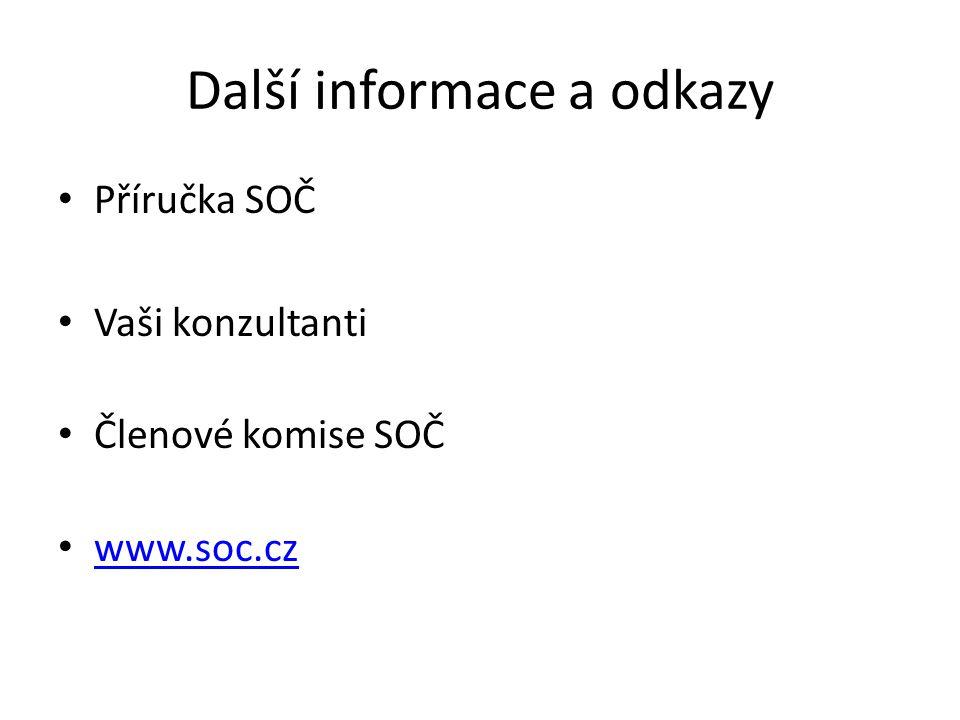 Další informace a odkazy Příručka SOČ Vaši konzultanti Členové komise SOČ www.soc.cz
