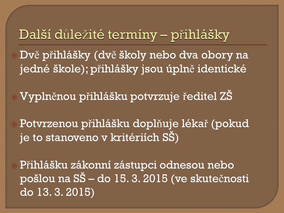 Termíny p ř ijímacích zkoušek (zadání si chystá SŠ):  22.