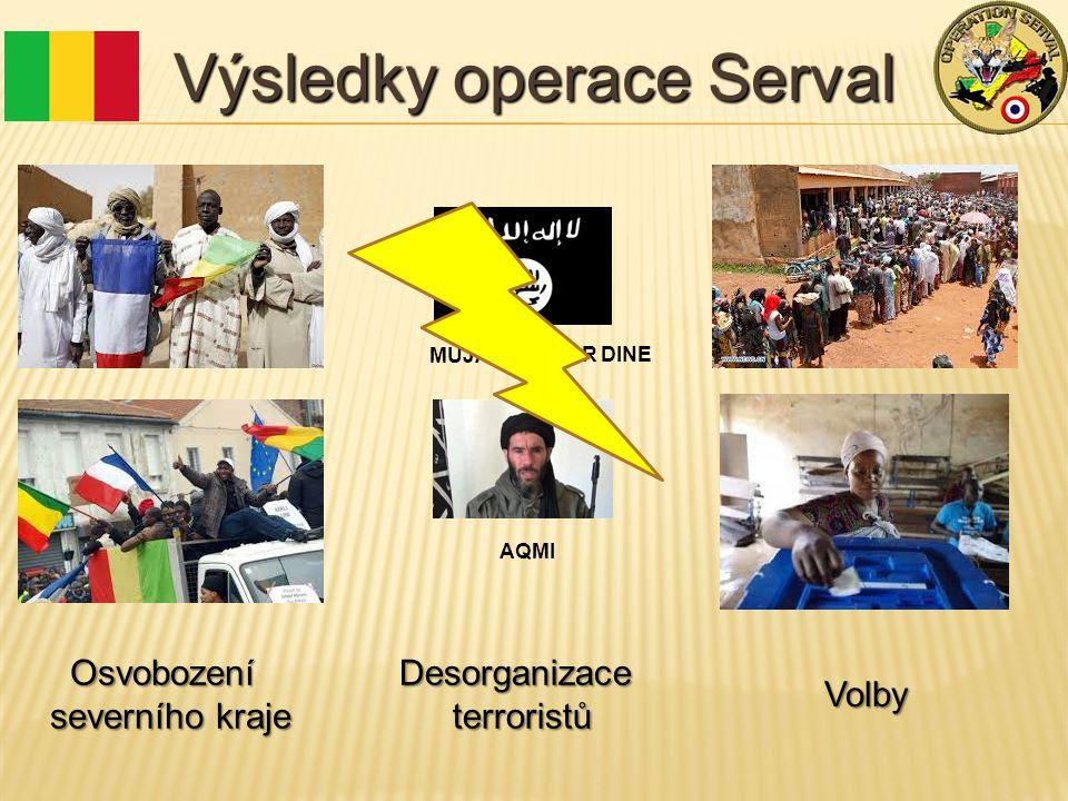 Výsledky operace Serval Osvobození severního kraje MUJAO / ANSAR DINE AQMI Desorganizaceterroristů Volby