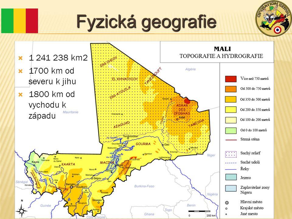 Fyzická geografie  1 241 238 km2  1700 km od severu k jihu  1800 km od vychodu k západu