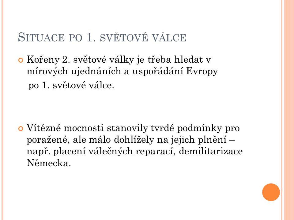 S ITUACE PO 1.SVĚTOVÉ VÁLCE Příčiny nového konfliktu – 1.