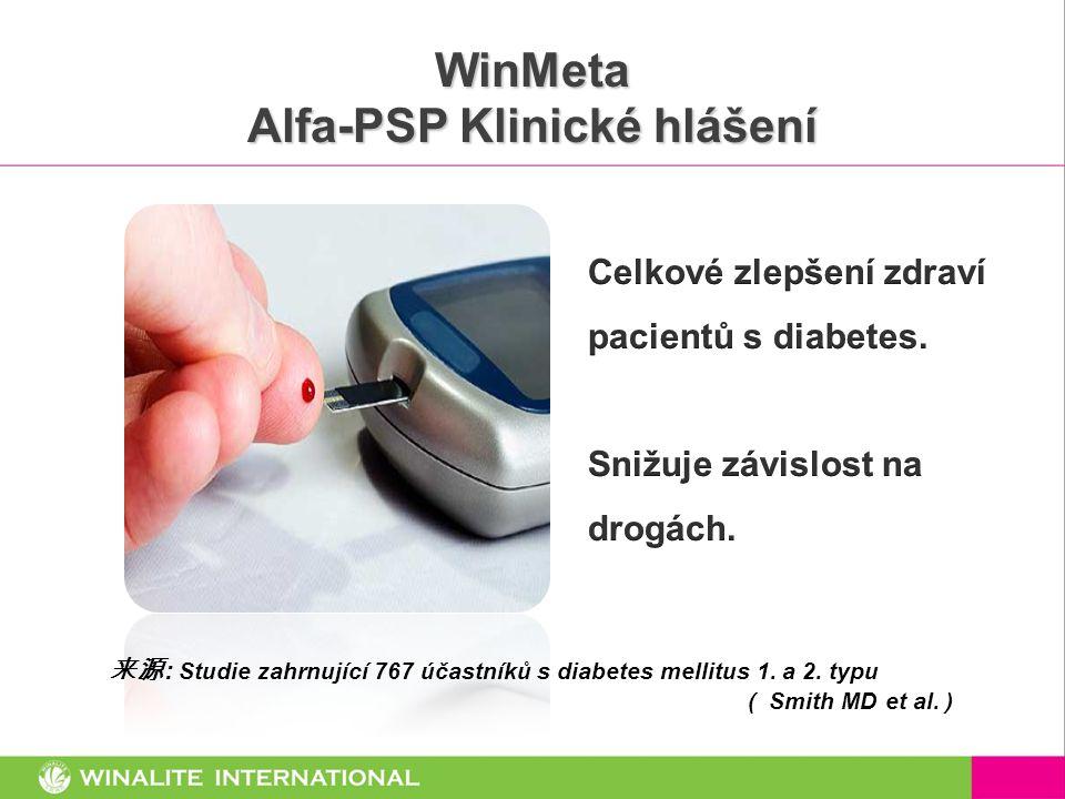 WinMeta Alfa-PSP Klinické hlášení 来源 : Studie zahrnující 767 účastníků s diabetes mellitus 1. a 2. typu ( Smith MD et al. )