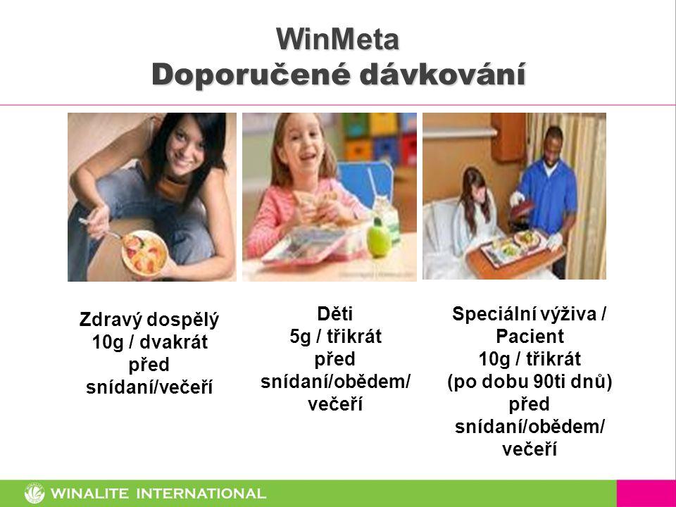 WinMeta Doporučené dávkování Zdravý dospělý 10g / dvakrát před snídaní/večeří Děti 5g / třikrát před snídaní/obědem/ večeří Speciální výživa / Pacient 10g / třikrát (po dobu 90ti dnů) před snídaní/obědem/ večeří