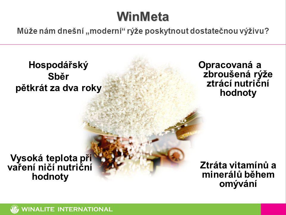 """WinMeta Může nám dnešní """"moderní"""" rýže poskytnout dostatečnou výživu? Vysoká teplota při vaření ničí nutriční hodnoty Opracovaná a zbroušená rýže ztrá"""