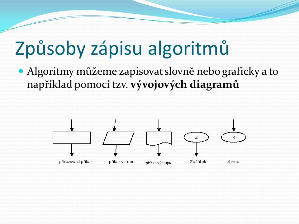 Způsoby zápisu algoritmů Algoritmy můžeme zapisovat slovně nebo graficky a to například pomocí tzv. vývojových diagramů