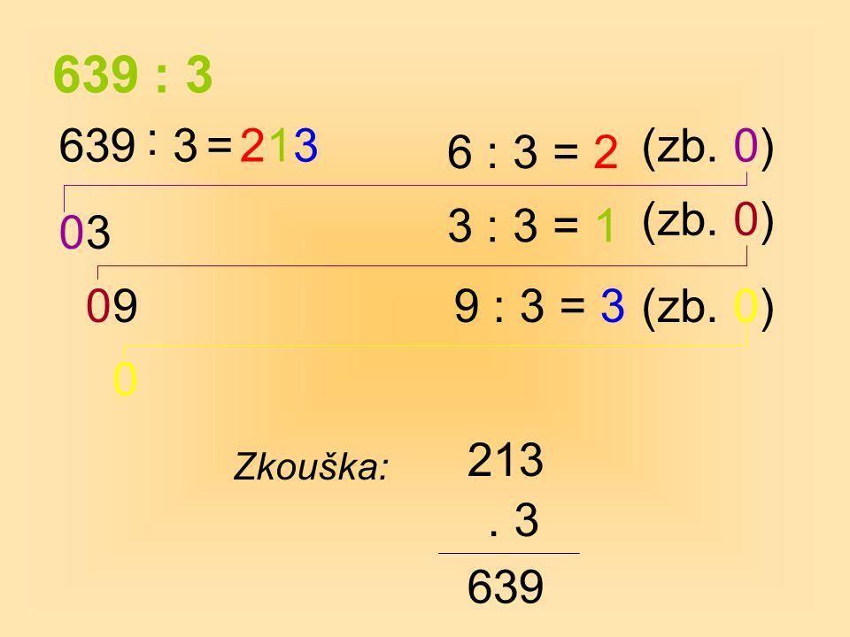 639 : 3 6 : 3 = 2 0 0 Zkouška: 213. 3 639 : 3=(zb. 0) 3 2 3 : 3 = 1 (zb. 0) 1 099 : 3 = 3(zb. 0) 3