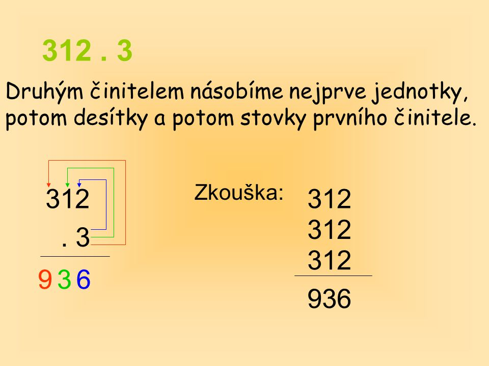 312. 3 Druhým činitelem násobíme nejprve jednotky, potom desítky a potom stovky prvního činitele. 312. 3 Zkouška: 312 936 936