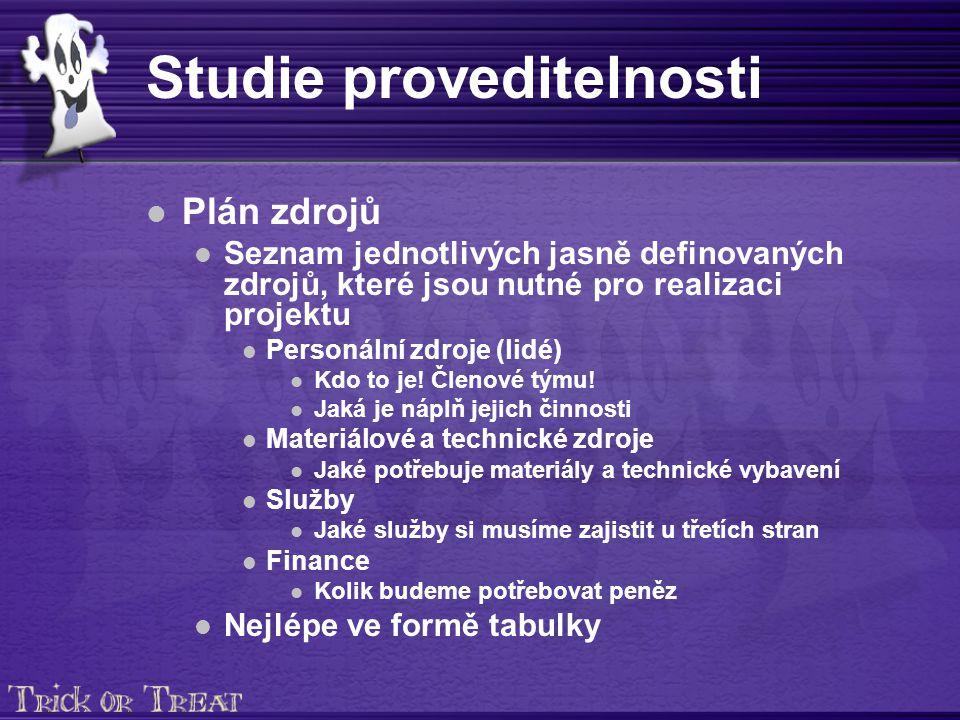 Studie proveditelnosti Plán zdrojů Seznam jednotlivých jasně definovaných zdrojů, které jsou nutné pro realizaci projektu Personální zdroje (lidé) Kdo to je.