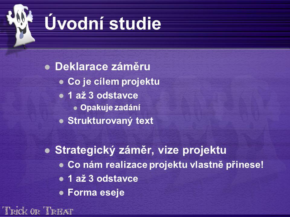 Úvodní studie Deklarace záměru Co je cílem projektu 1 až 3 odstavce Opakuje zadání Strukturovaný text Strategický záměr, vize projektu Co nám realizace projektu vlastně přinese.