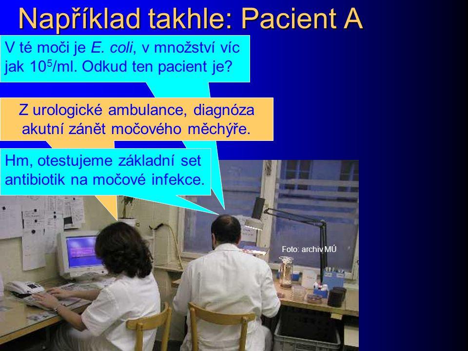 Například takhle: Pacient A Foto: archiv MÚ V té moči je E.