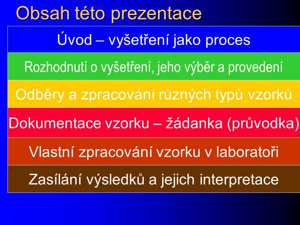 Obsah této prezentace Úvod – vyšetření jako proces Rozhodnutí o vyšetření, jeho výběr a provedení Odběry a zpracování různých typů vzorků Dokumentace