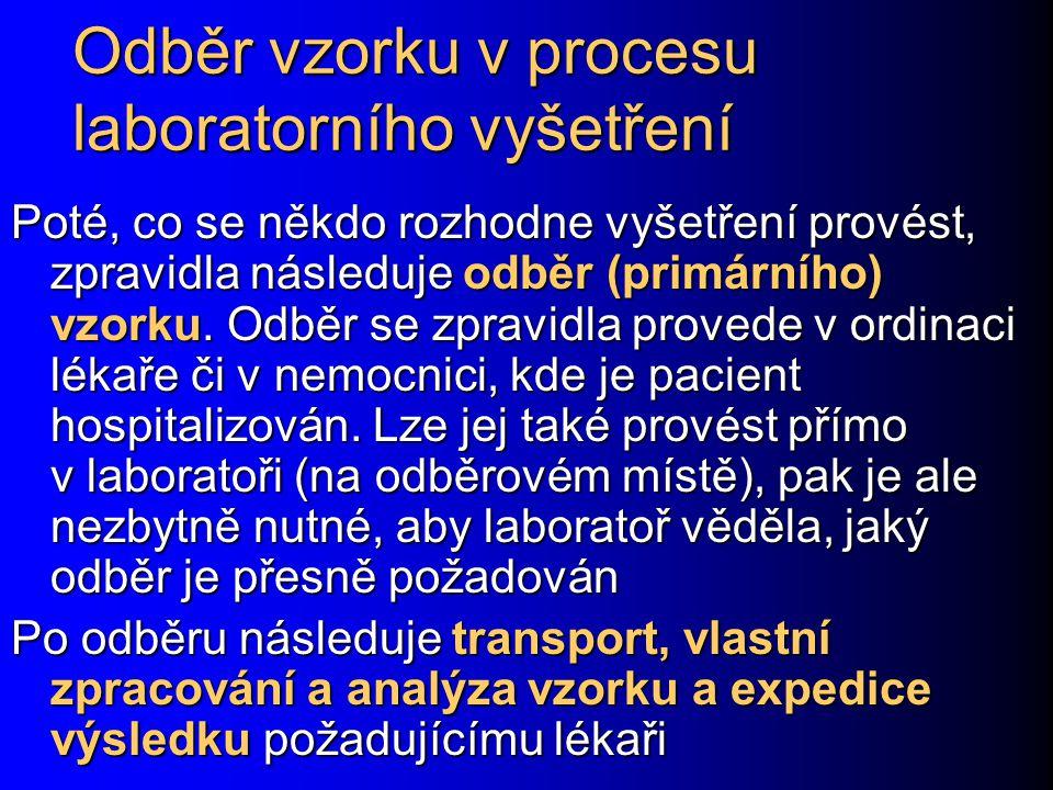 Proces laboratorního vyšetřování PACIENT/LÉKAŘ/ SESTRA LABORATOŘ Indikace vyšetření – zda, jaké Vlastní provedení odběru Transport materiálu Rozhodnutí, jak zpracovat Vlastní zpracování materiálu Zaslání výsledku Interpretace výsledku (nikdy jednotlivě, vždy společně s ostatními výsledky)
