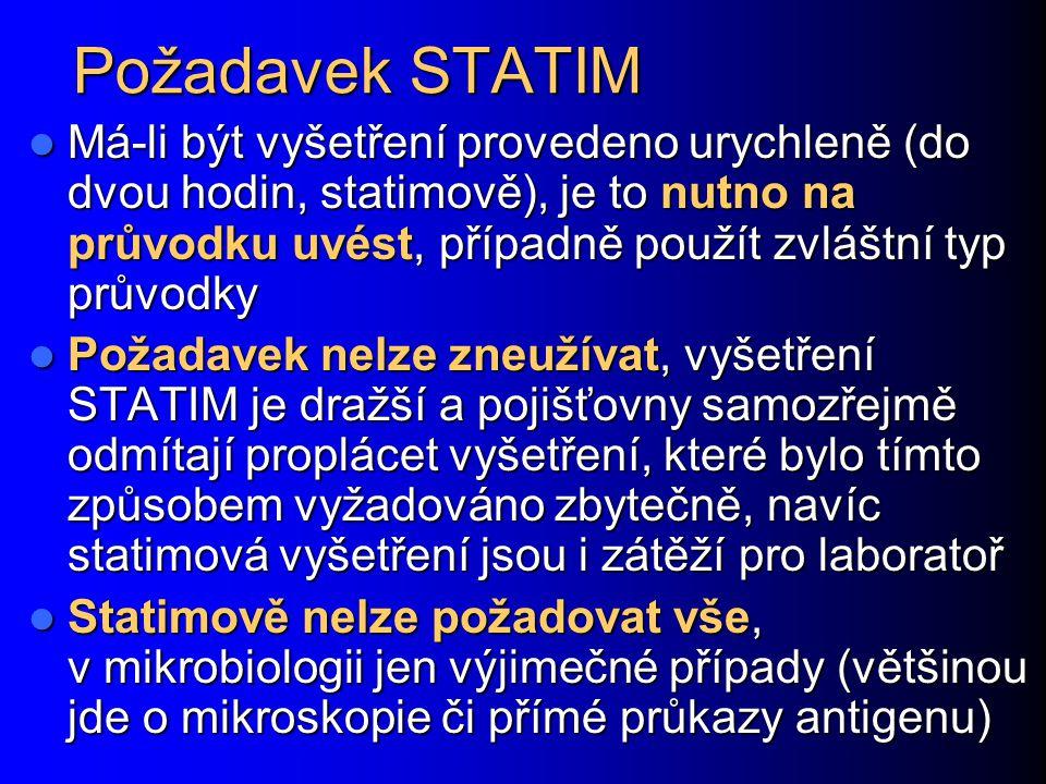 Požadavek STATIM Má-li být vyšetření provedeno urychleně (do dvou hodin, statimově), je to nutno na průvodku uvést, případně použít zvláštní typ průvodky Má-li být vyšetření provedeno urychleně (do dvou hodin, statimově), je to nutno na průvodku uvést, případně použít zvláštní typ průvodky Požadavek nelze zneužívat, vyšetření STATIM je dražší a pojišťovny samozřejmě odmítají proplácet vyšetření, které bylo tímto způsobem vyžadováno zbytečně, navíc statimová vyšetření jsou i zátěží pro laboratoř Požadavek nelze zneužívat, vyšetření STATIM je dražší a pojišťovny samozřejmě odmítají proplácet vyšetření, které bylo tímto způsobem vyžadováno zbytečně, navíc statimová vyšetření jsou i zátěží pro laboratoř Statimově nelze požadovat vše, v mikrobiologii jen výjimečné případy (většinou jde o mikroskopie či přímé průkazy antigenu) Statimově nelze požadovat vše, v mikrobiologii jen výjimečné případy (většinou jde o mikroskopie či přímé průkazy antigenu)