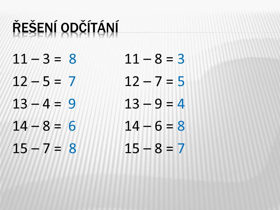 11 – 3 = 8 11 – 8 = 3 12 – 5 = 712 – 7 = 5 13 – 4 = 913 – 9 = 4 14 – 8 = 614 – 6 = 8 15 – 7 = 815 – 8 = 7 8