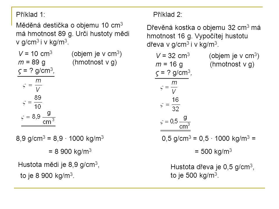 V = 10 cm 3 (objem je v cm 3 ) m = 89 g (hmotnost v g) ς = .