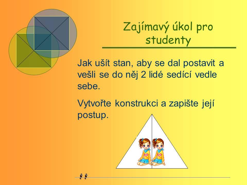 Zajímavý úkol pro studenty Jak ušít stan, aby se dal postavit a vešli se do něj 2 lidé sedící vedle sebe.