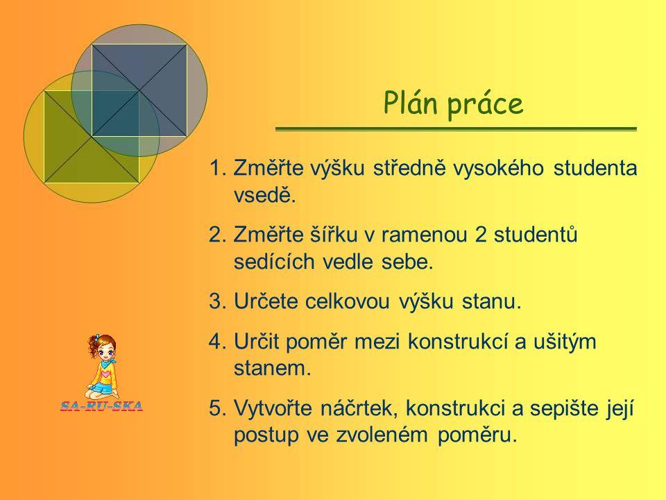 Plán práce 1.Změřte výšku středně vysokého studenta vsedě.