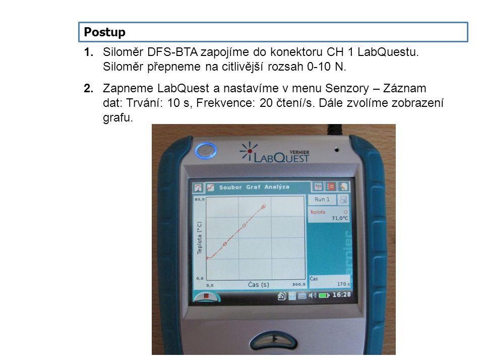 Postup 1.Siloměr DFS-BTA zapojíme do konektoru CH 1 LabQuestu. Siloměr přepneme na citlivější rozsah 0-10 N. 2.Zapneme LabQuest a nastavíme v menu Sen