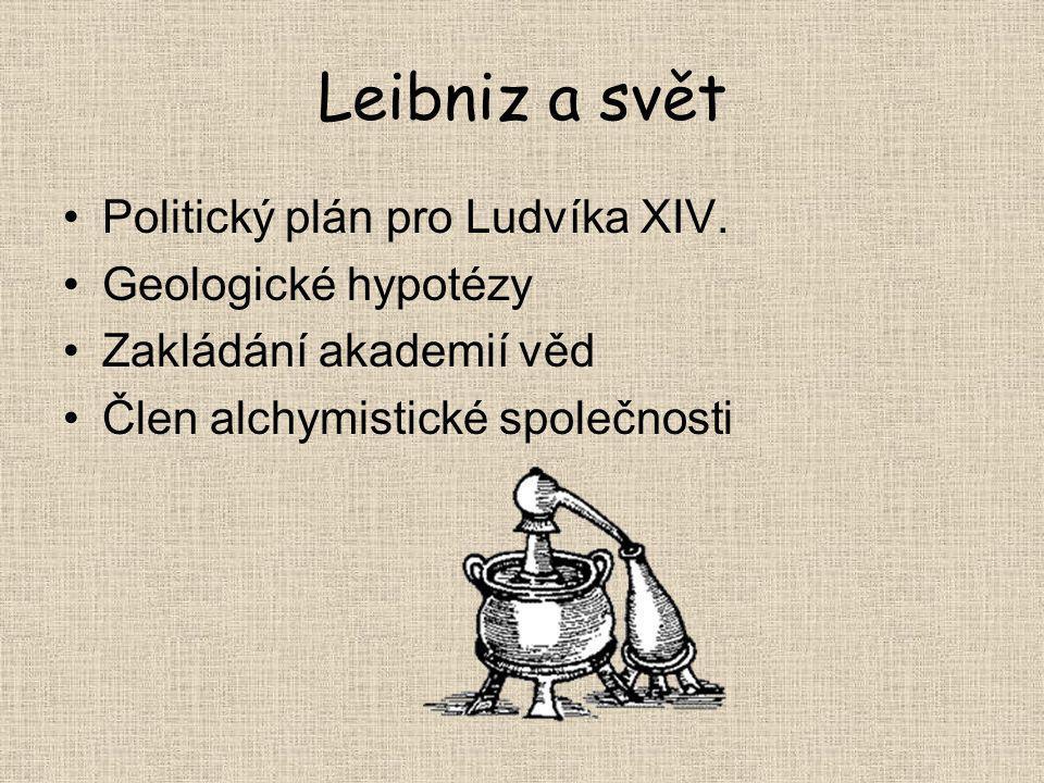 Leibniz a svět Politický plán pro Ludvíka XIV. Geologické hypotézy Zakládání akademií věd Člen alchymistické společnosti