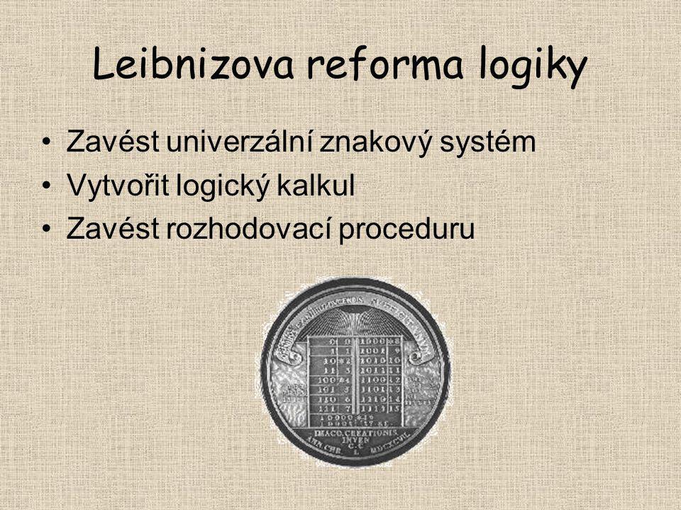 Leibnizova reforma logiky Zavést univerzální znakový systém Vytvořit logický kalkul Zavést rozhodovací proceduru