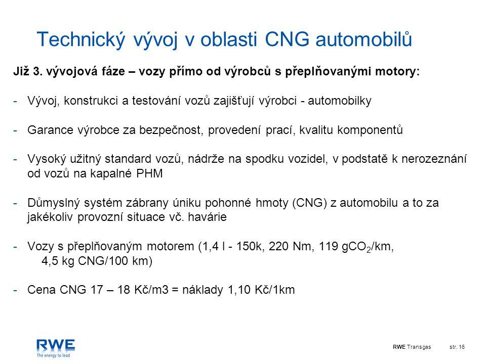 RWE Transgasstr.16 Technický vývoj v oblasti CNG automobilů Již 3.