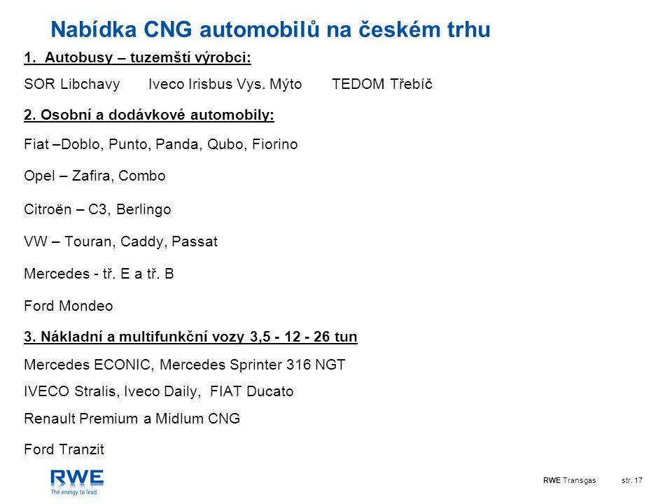 RWE Transgasstr.17 Nabídka CNG automobilů na českém trhu 1.