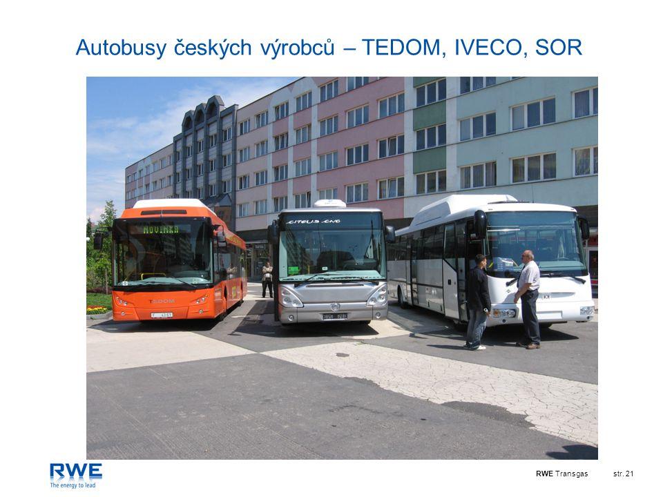 RWE Transgasstr. 21 Autobusy českých výrobců – TEDOM, IVECO, SOR