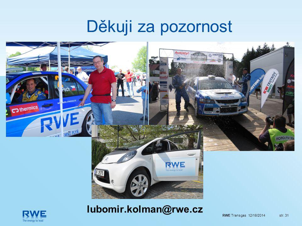RWE Transgas 12/18/2014str. 31 Děkuji za pozornost lubomir.kolman@rwe.cz