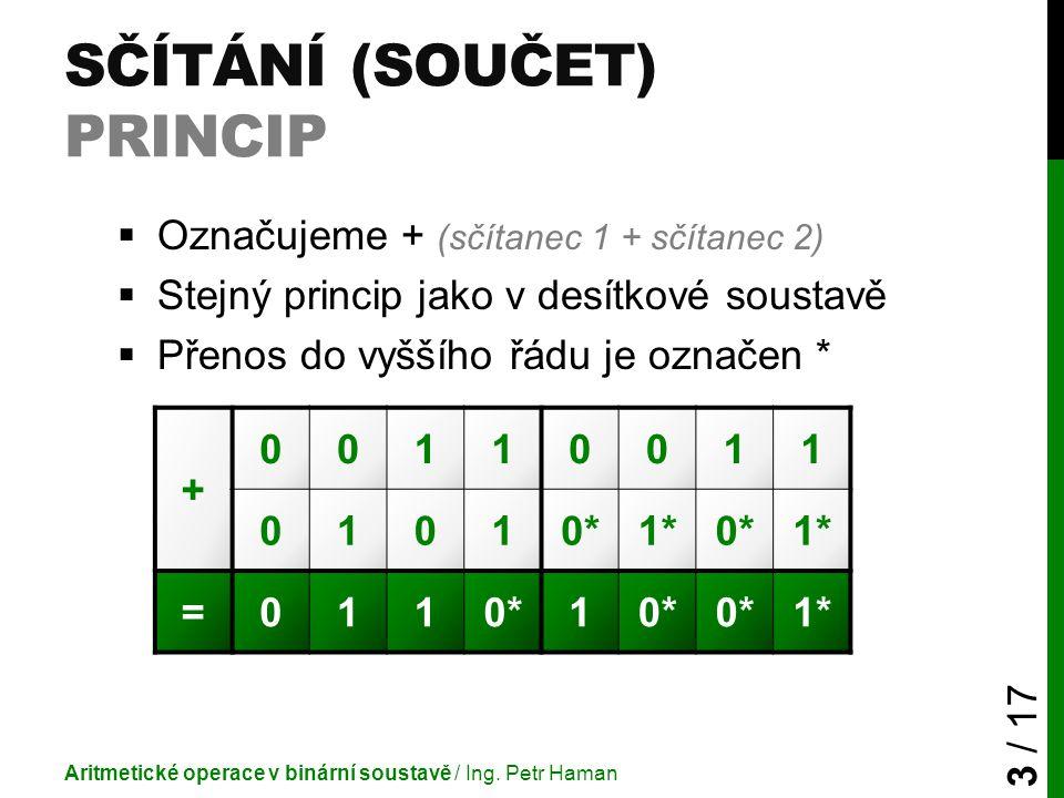SČÍTÁNÍ (SOUČET) PRINCIP  Označujeme + (sčítanec 1 + sčítanec 2)  Stejný princip jako v desítkové soustavě  Přenos do vyššího řádu je označen * Ari