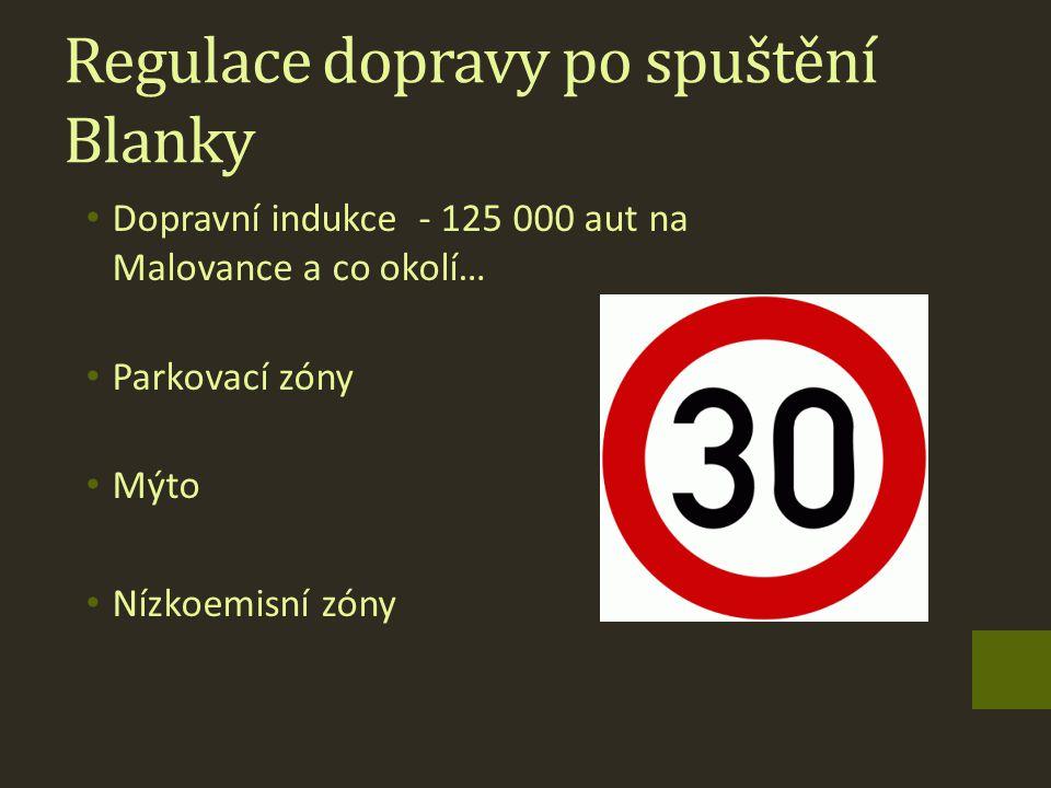 Regulace dopravy po spuštění Blanky Dopravní indukce - 125 000 aut na Malovance a co okolí… Parkovací zóny Mýto Nízkoemisní zóny