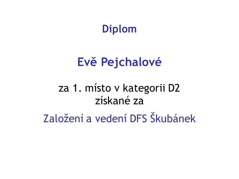 Diplom Evě Pejchalové za 1. místo v kategorii D2 získané za Založení a vedení DFS Škubánek