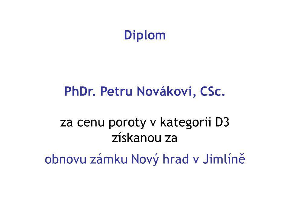 Diplom PhDr. Petru Novákovi, CSc.